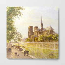 L'lle de la Cite and the Cathedral of Notre Dame, Paris from Quai Montebello by Firmin-Girard Metal Print