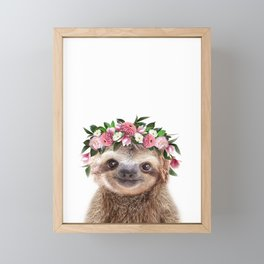 Baby Sloth With Flower Crown, Baby Animals Art Print By Synplus Framed Mini Art Print