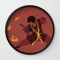 airbender Wall Clocks featuring Zuko by JHTY