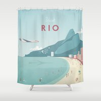 rio Shower Curtains featuring Vintage Rio Travel Poster by Travel Poster Co.