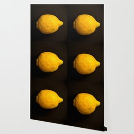 Yellow Lemon On A Black Background #decor #society6 Wallpaper