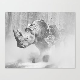 Rhino Photography | Animal |  Landscape | Abstract | Niagara Falls | Nature | Black and White Canvas Print