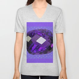 LILAC PURPLE AMETHYST FACETED GEM BIRTHSTONE ART Unisex V-Neck