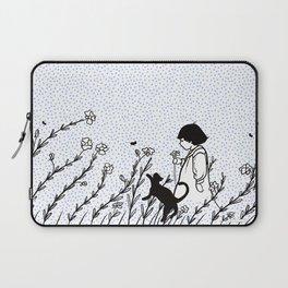 Vintage child in blue, walking in wild flowers Laptop Sleeve