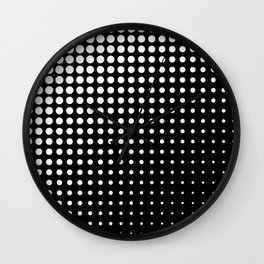 Modern techno shrinking polka dots black and white Wall Clock