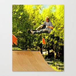 Flying High on Skateboard Ramp at the Park Canvas Print