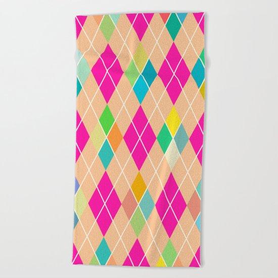 Colorful Geometric V Beach Towel