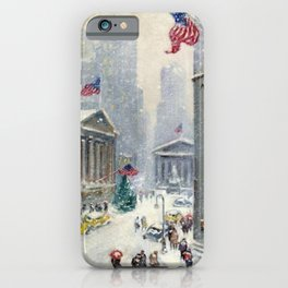 Broad Street to Wall Street, New York City landscape painting by Guy Carleton Wiggins iPhone Case