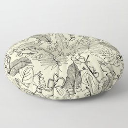 Monochrome Tropical Leaves and Flowers Floor Pillow