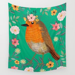 Robin Bird with flowers Wall Tapestry