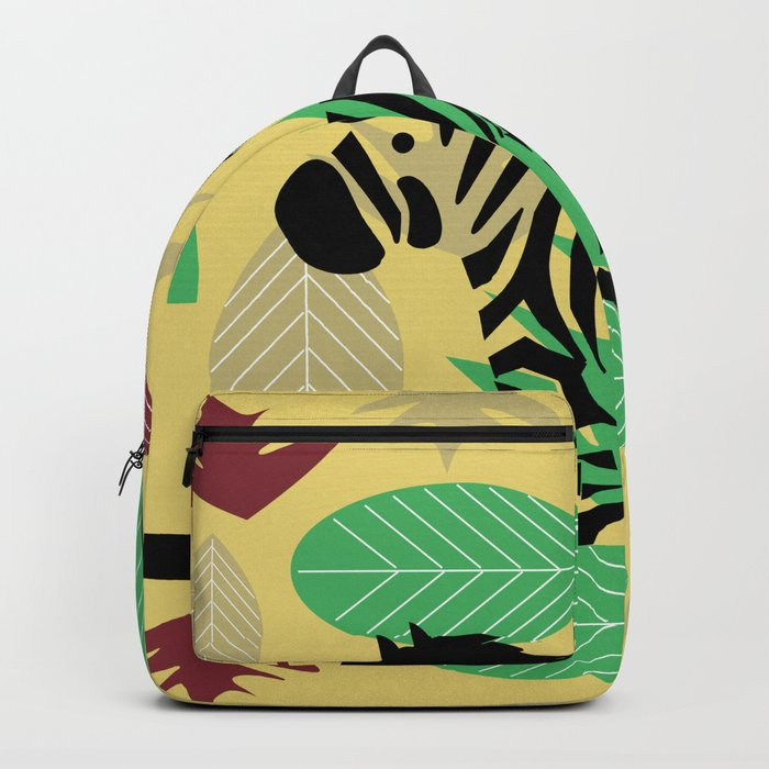 Zebra with leaves and dots Backpack