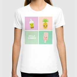 Hello Summer bright tropical card, pineapple, smoothie cup, ice cream, bubble tea. Kawaii cute face. T-shirt