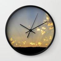 montana Wall Clocks featuring Montana Sunset by Ellie Mallen