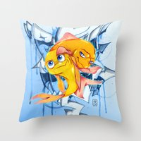 bucky Throw Pillows featuring Bucky & Ace by Paz Art