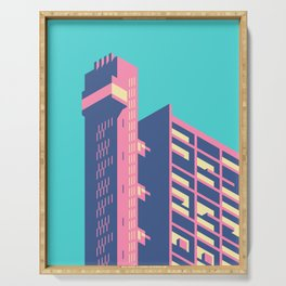 Trellick Tower London Brutalist Architecture - Plain Sky Serving Tray