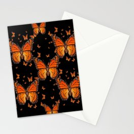 ORANGE MONARCH BUTTERFLIES BLACK MONTAGE Stationery Cards