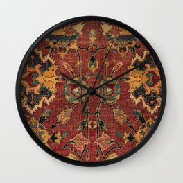 Flowery Boho Rug III // 17th Century Distressed Colorful Red Navy Blue Burlap Tan Ornate Accent Patt Wall Clock