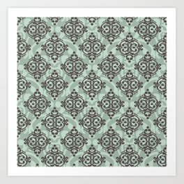 Turquoise and brown damask pattern Art Print