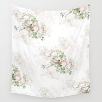 baroque Wall Tapestries featuring Pale flower baroque pattern by amazemygrace