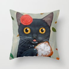 LADY CAT AND BEIGNET Throw Pillow