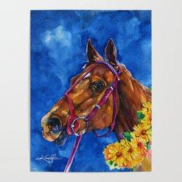 Secretariat Painting, Large Race Horse Watercolor Art Poster