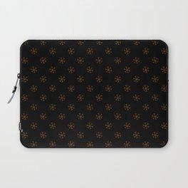 Chocolate Brown on Black Snowflakes Laptop Sleeve