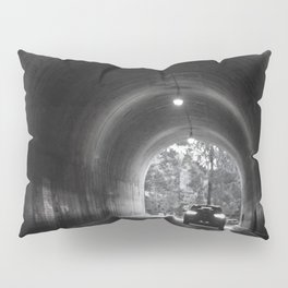 Travel photography through the tunnel black & white Pillow Sham