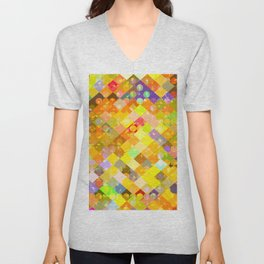 geometric square pixel and circle pattern abstract in yellow orange red blue Unisex V-Neck