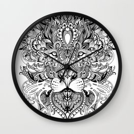 Black And White Geometric pattern mandala lion face Wall Clock