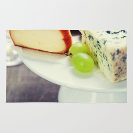 Wine and cheese plate - close up image Rug