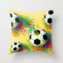 Football soccer sports colorful graphic design Throw Pillow