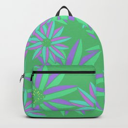 Green and Pink Small Bright Flowers Digital Pattern Backpack