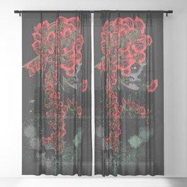 Rose skull girl Sheer Curtain