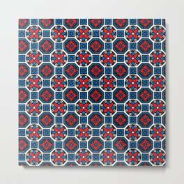 Red and Blue Winter Pattern Metal Print