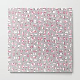 Pink Campers on Charcoal Metal Print