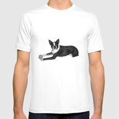 Fetch Boston Terrier B/W Mens Fitted Tee White MEDIUM