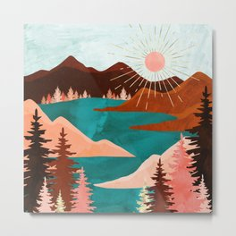 Retro Lake Metal Print