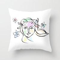 goddess Throw Pillows featuring Goddess by G_Stevenson