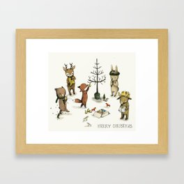 Christmas Animals poster - Merry Christmas art -holidays print - Nursery art - Nursery decor - Kids  Framed Art Print