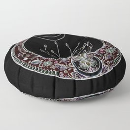 Moon Flower at Midnight in Black and Color Floor Pillow