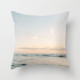 Pretty Pastel Sea   Beach travel photography art print   Soft colored fine art poster Throw Pillow