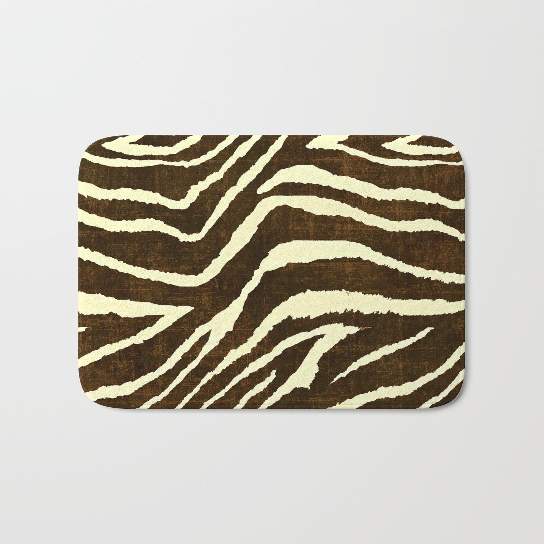 Winter Brown And Beige Bath Mat, Animal Print Bathroom Rugs