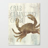 crab Canvas Prints featuring crab by M Maia Art