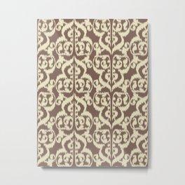 Ikat Moorish Damask, Beige and Taupe Tan Metal Print