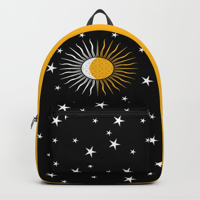 Lunar-Sol Flower Of Life Sun Moon & Stars Black White Yellow Backpack