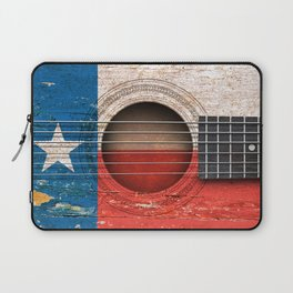 Old Vintage Acoustic Guitar with Texas Flag Laptop Sleeve