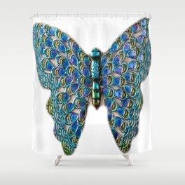 blue diamond butterfly Shower Curtain