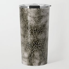 Gray Marble Pattern Black And Silver Vined Travel Mug