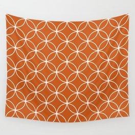 Orange geometric pattern Crossing Circles, modern design Wall Tapestry