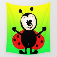 ladybug Wall Tapestries featuring Ladybug by Digital-Art